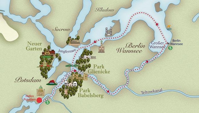 Die Wannseerundfahrt - Karte Fahrtroute